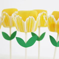 Spring Yellow Dipped Marshmallow Tulip Lollipops from Layer Cake Shop!