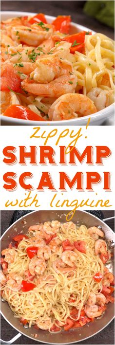 Italian cooking minimalists who don't scrimp on flavor, our shrimp scampi tosses plump shrimp with linguine and a buttery, garlicky, white wine sauce. Quick Pasta Recipes, Linguine Recipes, Meat Recipes, Seafood Recipes, Dinner Recipes, Cooking Recipes, Seafood Pasta, Recipies, Fish Dishes