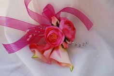 Pink Calla  Lily Bridesmaid Wrist Corsage by luvulila on Etsy,