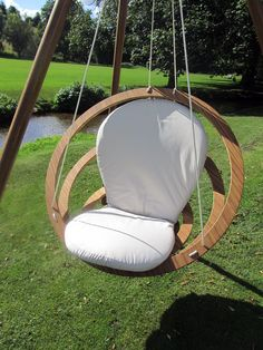 The Circa Hanging Chair is a new concept for the swinging chair or hammock. It is both safe and strong. It comes with a 5 meter rope with loops on both ends. It can be hung from our bamboo wigwam stand or from almost anywhere.  The cushion is covered in a high quality outdoor fabric.