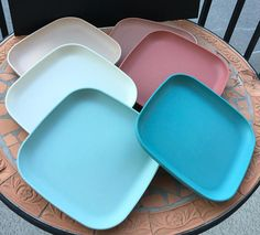 Vintage Tupperware Stackable Square Luncheon Plates Pastel  Colours Pink Blue White Rose Set Of 6 Camping RV Patio Garden