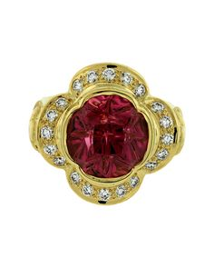 Beautiful Paula Crevoshay quatrefoil ring featuring a 8.69ct Larry Woods Medicine Wheel cut tourmaline and diamonds.