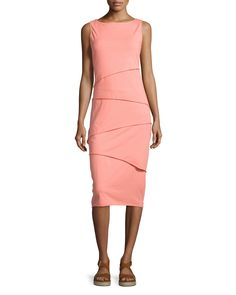 Neon Buddha Shanghai Zigzag Tiered Jersey Dress, Lovely Peach, Lovely Pea