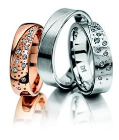 Meister Rose gold wedding ring set with 13x diamonds 0.130ct G-VS    Meister White gold wedding ring set with 13x diamonds 0.130ct G-VS