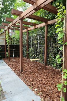 Elongated pergola construction that serves as a play element and as a view blocking ., Elongated pergola construction that serves as a play element and as a viewing block . Although ancient inside notion, this pergola has been suffering. Backyard Playground, Backyard For Kids, Natural Playground, Fenced In Backyard Ideas, Playground Ideas, Backyard Pergola, Backyard Landscaping, Pergola Swing, Landscaping Ideas