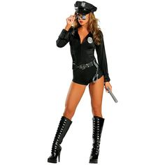 Sexy Female Cop Costume (235 BRL) ❤ liked on Polyvore featuring costumes, halloween costumes, multicolor, sexy women halloween costumes, womens black widow costume, sexy adult halloween costumes, womens police officer costume and womens cop costume