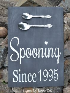 Chalkboard Spooning Since Wedding Sign Personalized Gift Kitchen Decor Anniversary For Couples Plaque