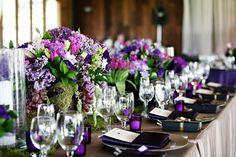 purple flowers & votive holders