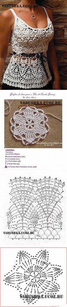 Красивая схема вязания летнего топа - Схемы вязания - Крючок и спицы