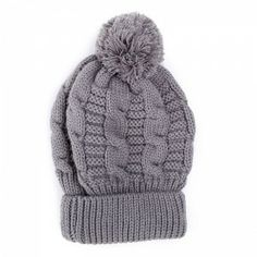 Plait Pom Pom Grey Fullah Sugah Knitted Hat #knitted #bannie Plait, Winter Is Coming, Knitted Hats, Winter Hats, Knitting, Grey, Fashion, Knit Hats, Tricot