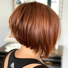 The Full Stack: 50 Hottest Stacked Haircuts Smooth Angled Copper Red Bob Short Hair Trends, New Hair Trends, Short Hair Styles Easy, Short Hair Cuts For Women, Curly Hair Styles, Hair Short Bobs, Bobs For Thin Hair, Layered Bob Hairstyles, Short Bob Haircuts