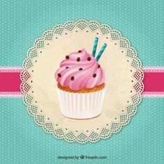 Magdalena deliciosa Cupcake Vector, Cupcake Logo, Cupcake Shops, Cupcake Art, Vintage Cupcake, Cupcake Boxes, Cupcake Illustration, Angel Illustration, Pastel Cupcakes