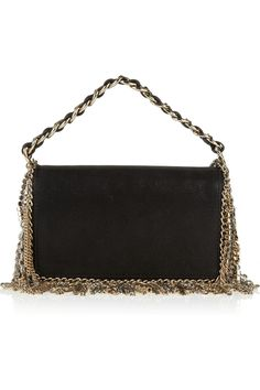 Jimmy Choo | Cecile chain and crystal-fringed leather mini bag