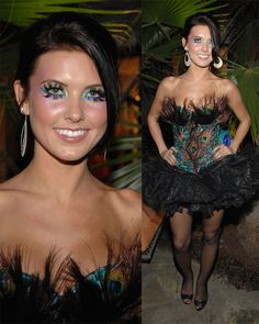 """Audrina Patridge poses for photographers in exotic peacock costume at the """"Halloween 2008 Party hosted by Marilyn Manson"""" at the Roosevelt Hotel in Hollywood."""