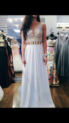 Gold band prom dress