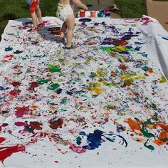 Rachael Rabbit: Kid Painted Fabric- What a fun activity! Even young kids can get into fabric painting.  They could decorate covers for their bed, tablecloths and more. They might need to be hosed off a bit but who doesn't love to play in the water in summer?