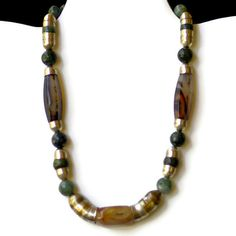 Chunky Rustic Choker Necklace/ Chocolate Brown Moss by ALFAdesigns, $69.99