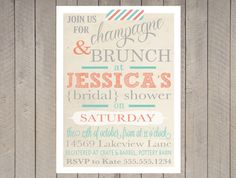 Vintage Bridal Shower Invitation Baby Shower, Spring, Gray Coral and Teal Turquoise Stripe, Typography, Washi Tape