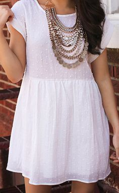 silver lining baby doll dress - cream