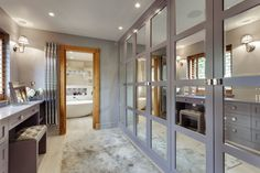 Stunning master wetroom with walk-through dressing room —Chuck Hatch, East Sus. - Stunning master wetroom with walk-through dressing room —Chuck Hatch, East Sussex Dressing Room Decor, Dressing Room Design, Dressing Rooms, Walk In Closet Design, Closet Designs, Design Room, Walking Closet Ideas, Walk Through Closet, Luxury Closet