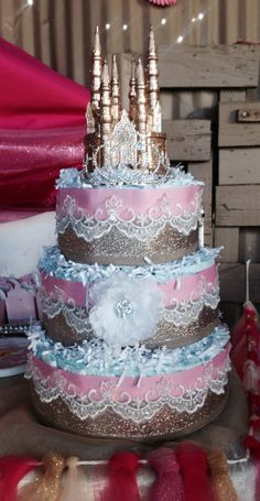 Pink gold lace diamon princess castle diaper cake for baby girl!