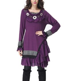 Another great find on #zulily! Purple Asymmetrical Ruffle Peasant Tunic - Women #zulilyfinds