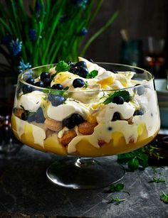 Recipe for Blueberry, lemon and mint trifle