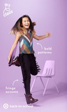 When you're so excited and you just can't hide it, it's probably due to Target's Art Class style. The harem pants with serious side-fringe makes every kid want to get off their seat, and jump around! Cat & Jack patent boots give the look some edge, and don't be shy with accessories. With a look this cool for back to school, kids simply can't be contained.