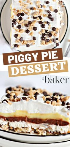 Want to learn another classic recipe from grandma? This Piggy Pie Dessert is sure to please everyone. It is easy, even the kids can help make this recipe. Chocolate and vanilla pudding, a cream cheese layer, and the best-baked crust that you will ever try! Cold Desserts, No Cook Desserts, Delicious Desserts, Sweet Desserts, Tasty Pastry, Pastry Recipes, Pie Recipes, Sweet Recipes, Layered Desserts