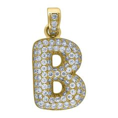 """Yellow Gold Iced Out Cubic Zirconia Mens Womens Bubble Initial Letter """"B"""" Charm PendantItem Number - from Yellow GoldWidth: inches ; Length: inchesGift box Yellow Gold Iced Out Cz Mens Womens Bubble Initial Letter """"B"""" Charm Pendant Letter B, Initial Letters, Gold Pendants For Men, Letter Pendants, Initials, Bubbles, Charmed, Yellow, Metal"""
