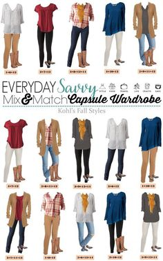 Here is a new board full of casual fall outfits for fall. These pieces mix and match to make 15 great outfits for fall fun!
