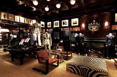 Deborah French Designs is a New York City based interior design firm Clothing Store Interior, Clothing Store Design, Showroom Interior Design, Retail Interior, Ralph Lauren Store, Suit Stores, Retail Store Design, Shop Interiors, Commercial Design