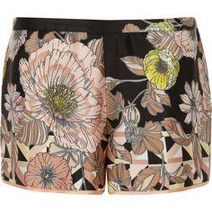 Black floral print satin pyjama shorts 08bee2f03