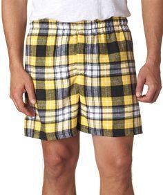 boxercraft adult classic flannel boxers - black / gold (xl)