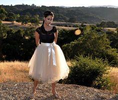 Creamy beige tulle tutu skirt for women. NEW COLOR for fall season. Tea Length six layer sewn skirt. via Etsy