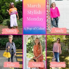 Amy's Creative Pursuits: March Stylish Monday - A Pop of Color Fashion Over Fifty, Green Skinny Jeans, Fifties Fashion, Neutral Outfit, Colorful Party, Photos Of Women, Color Block Sweater, International Fashion, What I Wore