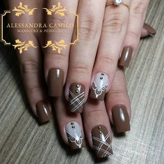17 Trendy Nails Art Designs For Fall Ombre New Nail Designs, Acrylic Nail Designs, Acrylic Nails, Uñas Color Cafe, Trendy Nail Art, Manicure E Pedicure, Super Nails, Fabulous Nails, Almond Nails