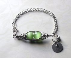 Green Peapod Bracelet Personalize Initial  by RTStyles on Etsy, $16.50