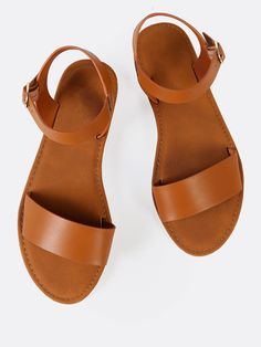 Online shopping for Sling Back Ankle Strap Single Band Flat Sandal TAN from a great selection of women's fashion clothing & more at MakeMeChic.COM.