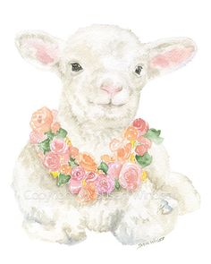 Lamb Floral Watercolor Painting Giclee Print 8 x 10 8.5 x 11
