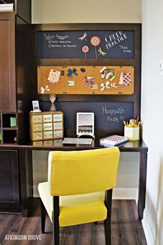 What tween or teen wouldn't love a homework station styled in his or her favorite colors? Complete with chalkboard and corkboard to stay organized, this creative home decor idea is a fantastic way to encourage your children to do well in school.