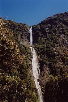 Sutherland Falls near Milford Sound in New Zealand's South Island. 580 metres (1,904 feet) I have been here when I tramped the Milford Track - The base of Sutherland Falls is a 90 minutes (return) walk from Quintin Public Shelter on the Milford Track.