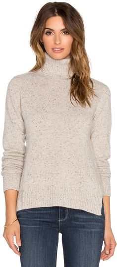 Autumn Cashmere Boxy Slit Turtleneck Sweater