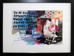 """Artist Simon Fensholm: """"En af den slags aftener man ville ønske man kunne gentage en enkelt gang""""  (""""One of those evenings that you'd wish you could repeat just once""""), A2. Markers and acrylics on paper."""