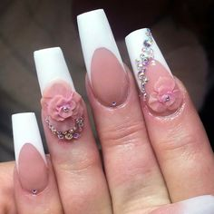Oldie✨#frenchmanicure #pinkandwhite #swarovski #3dnailart #acrylicnails #nails #nailart #nailtech #lovemyjob #nailstagram #naildesign #nails2inspire #longnails