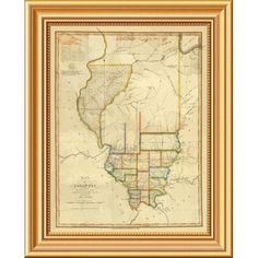 """East Urban Home 'Map of Illinois, 1820' Framed Graphic Art Print on Canvas Size: 20""""H x 16""""W x 1.5""""D"""