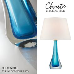The C H R I S T A Large Table Lamp by @julieneilldesigns explores and shows off the full potential of glass. With a cerulean blue accent set inside an organic blown-glass base, this piece will make a true statement anywhere it goes❄️ arriving soon to @bloomingdaleslighting - @visualcomfortco Visual Comfort Lighting, Large Table Lamps, Cerulean, Blue Accents, Amber Glass, Shades, Blown Glass, Organic, Posts