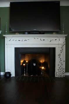 The Ring inspired fireplace Halloween Mantle