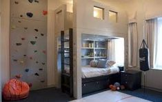 what a cool boys room! rock climbing wall, punching bag, hideway nook above bed, basketball court. Cool Boys Room, Cool Bedrooms For Boys, Awesome Bedrooms, Cool Rooms, Boy Room, Kids Bedroom, Dream Bedroom, Boy Bedrooms, Childrens Bedroom