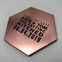 Rose Gold Save the Date Hexagon Magnet Gold Save The Dates, Save The Date Magnets, Etsy Uk, Cute Stickers, Custom Design, Alternative, Dating, Clip Art, Rose Gold